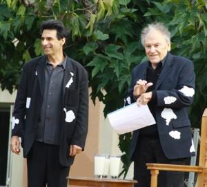 """Michel Arbatz et Jean-Louis Trintignant dans """"Vacheries"""", spectacle éphémère (ZAT Montpellier, 2013)"""